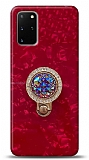 Samsung Galaxy S20 Plus Mozaik Yüzüklü Kırmızı Silikon Kılıf