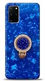 Samsung Galaxy S20 Plus Mozaik Yüzüklü Mavi Silikon Kılıf