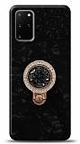 Samsung Galaxy S20 Plus Mozaik Yüzüklü Siyah Silikon Kılıf