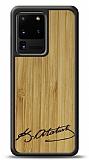 Samsung Galaxy S20 Ultra Atatürk İmza Ahşap Kılıf