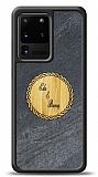 Samsung Galaxy S20 Ultra Kişiye Özel Çift İsim Doğal Mermer ve Bambu Kılıf