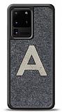 Samsung Galaxy S20 Ultra Kişiye Özel Silver Tek Harf Doğal Mermer Kılıf