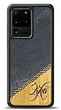 Samsung Galaxy S20 Ultra Kişiye Özel Tek İsim Doğal Mermer ve Bambu Kılıf