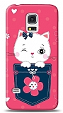 Samsung Galaxy S5 mini Pink Cat Kılıf