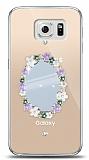 Samsung Galaxy S6 Çiçekli Aynalı Taşlı Kılıf