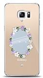 Samsung Galaxy S6 Edge Plus Çiçekli Aynalı Taşlı Kılıf