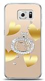 Samsung Galaxy S6 Lovely Kitty Taşlı Kılıf