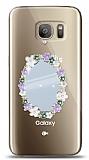 Samsung Galaxy S7 Çiçekli Aynalı Taşlı Kılıf