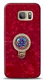 Samsung Galaxy S7 Edge Mozaik Yüzüklü Kırmızı Silikon Kılıf