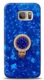 Samsung Galaxy S7 Edge Mozaik Yüzüklü Mavi Silikon Kılıf