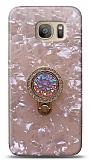 Samsung Galaxy S7 Edge Mozaik Yüzüklü Pembe Silikon Kılıf