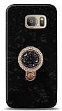 Samsung Galaxy S7 Edge Mozaik Yüzüklü Siyah Silikon Kılıf