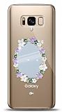 Samsung Galaxy S8 Çiçekli Aynalı Taşlı Kılıf