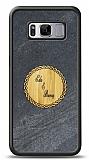 Samsung Galaxy S8 Kişiye Özel Çift İsim Doğal Mermer ve Bambu Kılıf