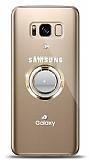 Samsung Galaxy S8 Plus Gold Tutuculu Taşlı Şeffaf Kılıf