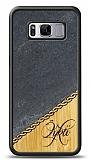 Samsung Galaxy S8 Plus Kişiye Özel Tek İsim Doğal Mermer ve Bambu Kılıf