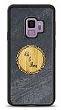 Samsung Galaxy S9 Kişiye Özel Çift İsim Doğal Mermer ve Bambu Kılıf