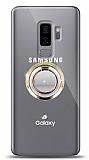 Samsung Galaxy S9 Plus Gold Tutuculu Taşlı Şeffaf Kılıf