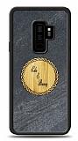 Samsung Galaxy S9 Plus Kişiye Özel Çift İsim Doğal Mermer ve Bambu Kılıf