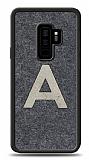 Samsung Galaxy S9 Plus Kişiye Özel Silver Tek Harf Doğal Mermer Kılıf
