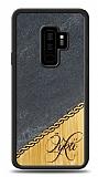 Samsung Galaxy S9 Plus Kişiye Özel Tek İsim Doğal Mermer ve Bambu Kılıf