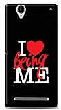 Sony Xperia T2 Ultra I Love Being Me Black Kılıf