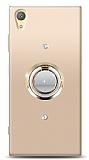 Sony Xperia XA1 Plus Gold Tutuculu Taşlı Şeffaf Kılıf