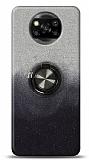 Xiaomi Poco X3 Simli Yüzüklü Siyah Silikon Kılıf