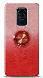 Xiaomi Redmi Note 9 Simli Yüzüklü Kırmızı Silikon Kılıf