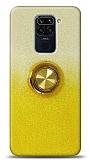 Xiaomi Redmi Note 9 Simli Yüzüklü Sarı Silikon Kılıf