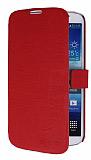 S-Ch Samsung Galaxy Mega 6.3 Standl� C�zdanl� K�rm�z� Deri K�l�f