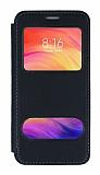 Samsung Galaxy A01 Çift Pencereli Kapaklı Siyah Kılıf