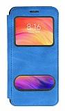 Samsung Galaxy A01 Çift Pencereli Kapaklı Mavi Kılıf