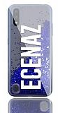 Samsung Galaxy A01 Kişiye Özel Simli Sulu Mavi Rubber Kılıf