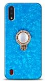 Samsung Galaxy A01 Mozaik Yüzüklü Mavi Silikon Kılıf