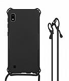Samsung Galaxy A10 Askılı Siyah Silikon Kılıf