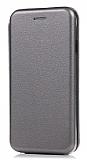Samsung Galaxy A2 Core Curve Manyetik Kapaklı Silver Deri Kılıf