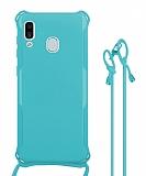 Samsung Galaxy A20 / A30 Askılı Mavi Silikon Kılıf