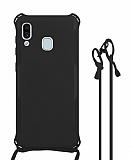 Samsung Galaxy A20 / A30 Askılı Siyah Silikon Kılıf