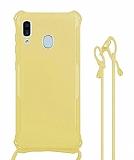 Samsung Galaxy A20 / A30 Askılı Sarı Silikon Kılıf