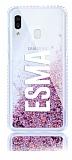 Samsung Galaxy A20 / A30 Kişiye Özel Simli Sulu Rose Gold Rubber Kılıf