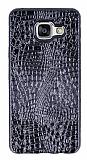 Samsung Galaxy A3 2016 Deri Desenli Parlak Siyah Silikon Kılıf