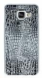 Samsung Galaxy A3 2016 Deri Desenli Parlak Silver Silikon Kılıf