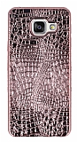 Samsung Galaxy A3 2016 Deri Desenli Parlak Rose Gold Silikon Kılıf