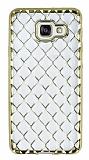 Samsung Galaxy A3 2016 Diamond Gold Kenarlı Şeffaf Silikon Kılıf