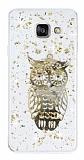 Samsung Galaxy A3 2016 Işıltılı Baykuş Şeffaf Beyaz Silikon Kılıf