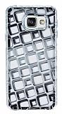 Samsung Galaxy A3 2016 Kare Desenli Silver Silikon Kılıf