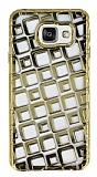 Samsung Galaxy A3 2016 Kare Desenli Gold Silikon K�l�f