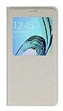 Samsung Galaxy A3 2016 Pencereli Kapaklı Krem Deri Kılıf