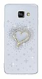 Samsung Galaxy A3 2016 Taşlı Kalp Şeffaf Silikon Kılıf